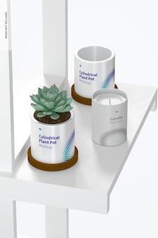 Keramische cilindrische plantenpot en kaarsmodel