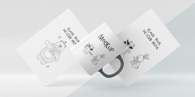 Keramische mok mock-up met aangepast ontwerp