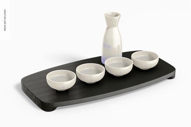 Keramische sake-set op surface mockup