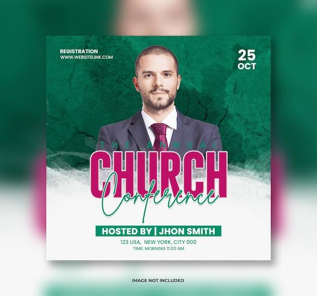 Kerk live conferentie post banner sjabloon of flyer sjabloon en social media banner