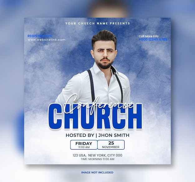 Kerkconferentie flyer sociale media post banner en webbanner