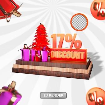 Kerst 17 procent sale korting label 3d-gerenderde afbeelding