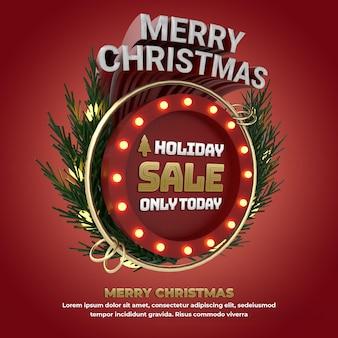 Kerst 3d cirkel banner vakantie-evenement voor promotie en viering van sociale media illustratie