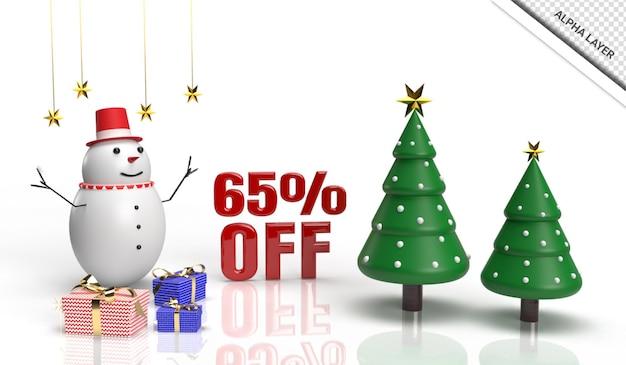 Kerst 3d render verkoop banner 65 korting
