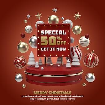 Kerst 3d vierkant banner vakantie-evenement voor promotie en viering van sociale media illustratie
