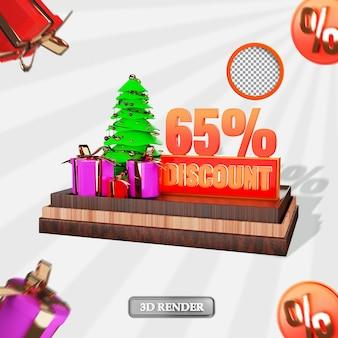 Kerst 65 procent sale korting label 3d weergegeven afbeelding