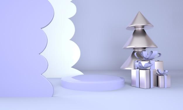 Kerst achtergrond met kerstboom en podium voor productvertoning