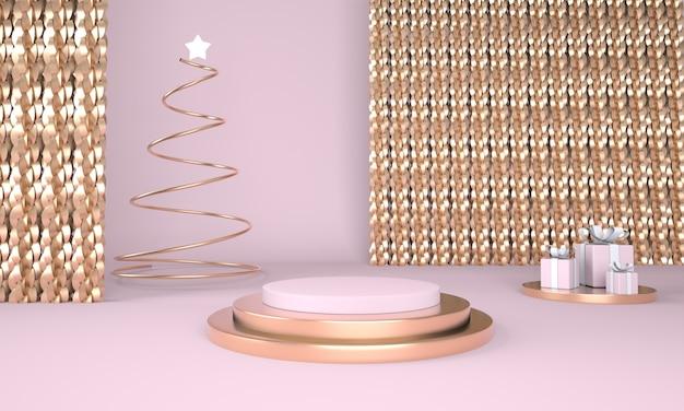 Kerst achtergrond met kerstboom en podium voor productweergave in 3d-rendering