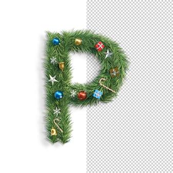 Kerst alfabet letter p.