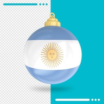 Kerst argentinië vlag 3d-rendering geïsoleerd