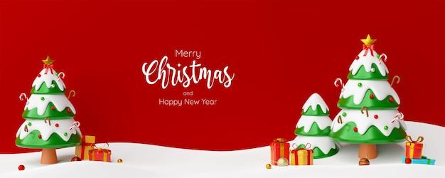 Kerst banner briefkaart scène van kerstboom met cadeautjes, 3d illustratie