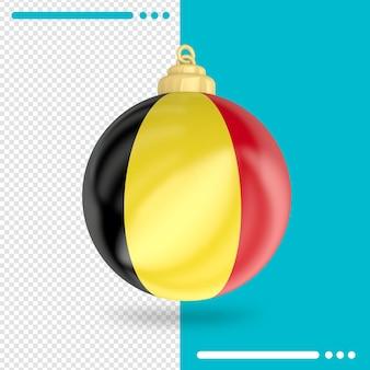 Kerst belgië vlag 3d-rendering geïsoleerd