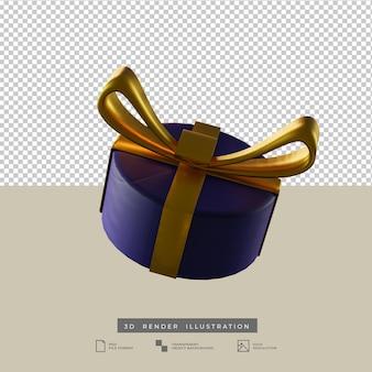 Kerst blauwe ronde geschenkdoos met gouden boog klei stijl zijaanzicht 3d illustratie