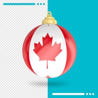 Kerst canada vlag 3d-rendering geïsoleerd