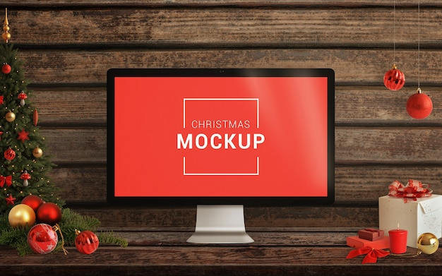 Kerst computer display mockup met decoraties