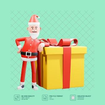 Kerst concept illustratie. 3d kerstman leunt achterover op een grote kerstcadeaudoos voor een verrassing