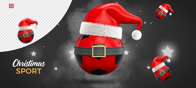 Kerst concept sport, voetbal, 3d-rendering