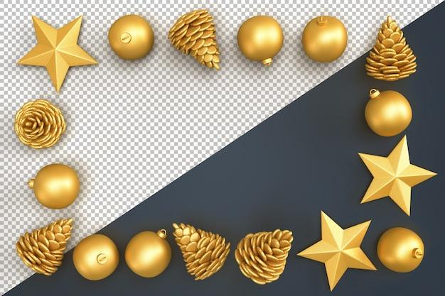 Kerst decoratieve elementen die rechthoekig frame vormen