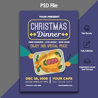 Kerst diner folder sjabloon