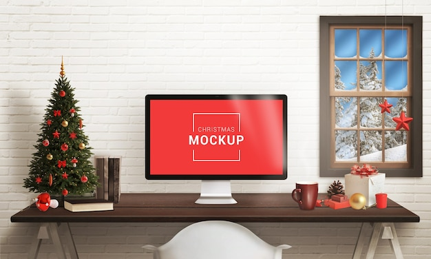Kerst display computer mockup