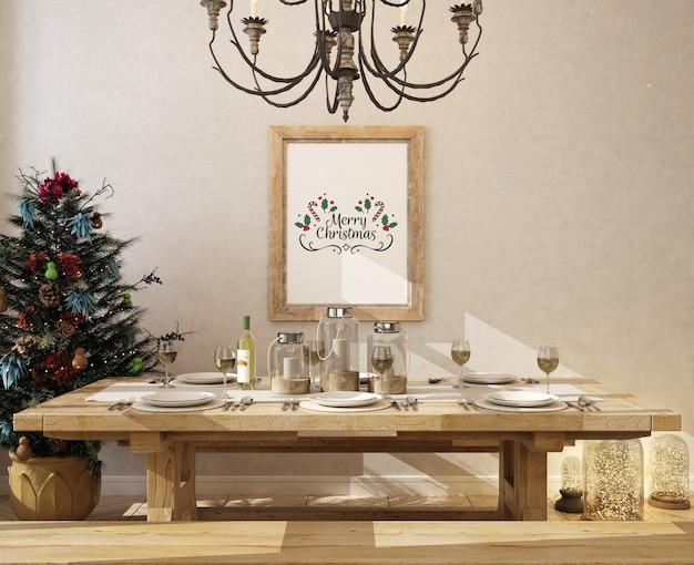 Kerst eetkamer met mockup posterframe en kerstboom