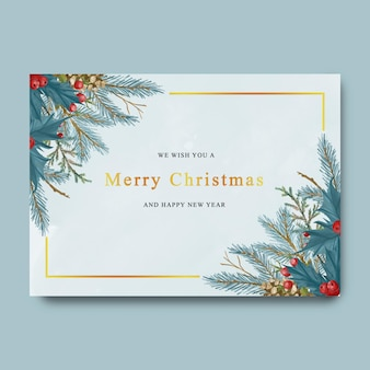 Kerst- en nieuwjaarskaart met aquarel kerstbladeren