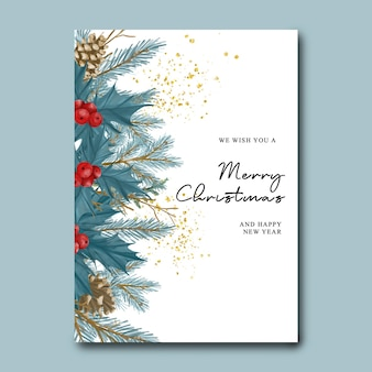 Kerst- en nieuwjaarskaart met aquarel kerstblauwe bladeren