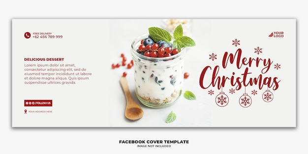 Kerst facebook cover voor restaurant eten menusjabloon