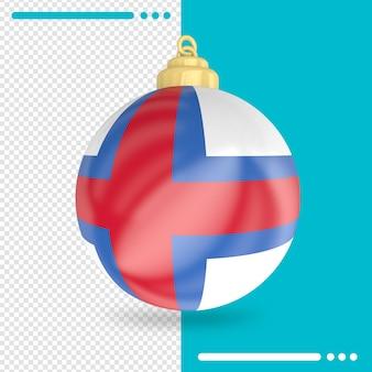 Kerst faeröer vlag 3d-rendering geïsoleerd