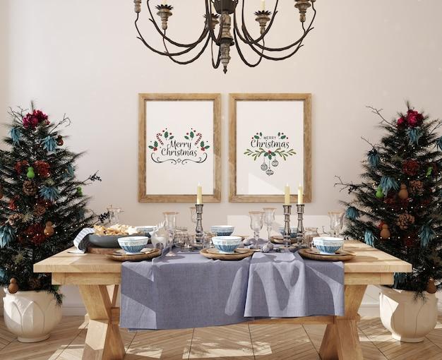 Kerst finningroom met mockup posterframe en kerstboom