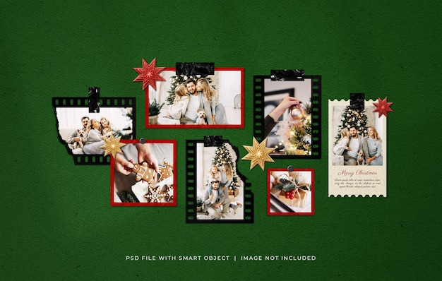 Kerst foto film frames moodboard mockup