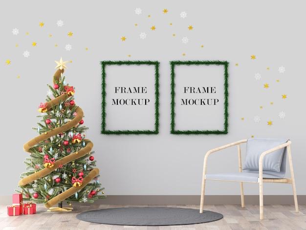 Kerst fotolijsten naast nieuwe jaarboom 3d-rendering mockup