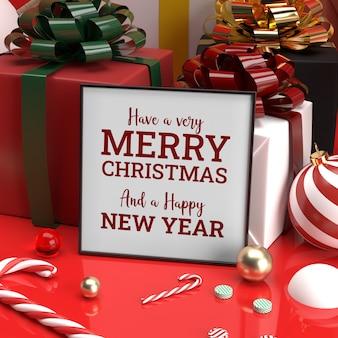 Kerst frame mockup realistische candy cane gift rechterkant 3d bekijken Premium Psd