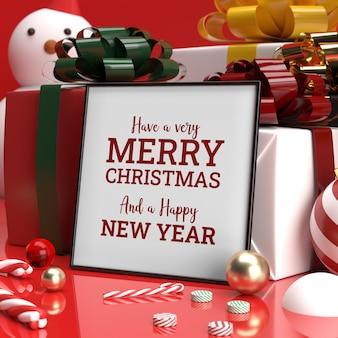 Kerst frame mockup realistische candy cane gift zijaanzicht 3d
