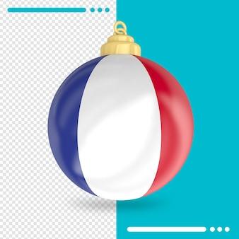 Kerst frankrijk vlag 3d-rendering geïsoleerd