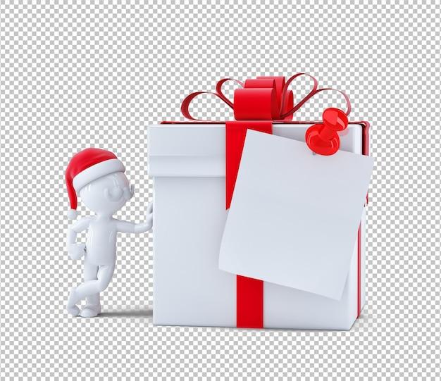 Kerst geschenkdoos met lege kaart. geïsoleerd op een witte achtergrond. 3d-rendering