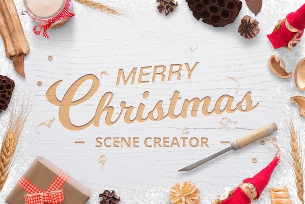 Kerst houten snijwerk logo groet tekst mockup scène maker
