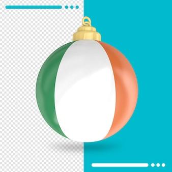 Kerst ierland vlag 3d-rendering geïsoleerd