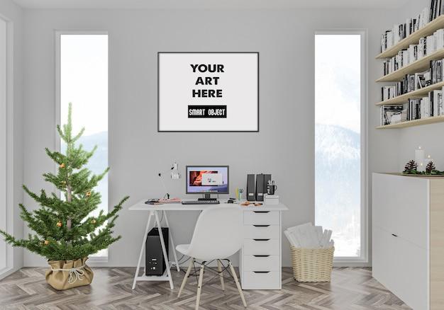 Kerst interieur met frame mockup