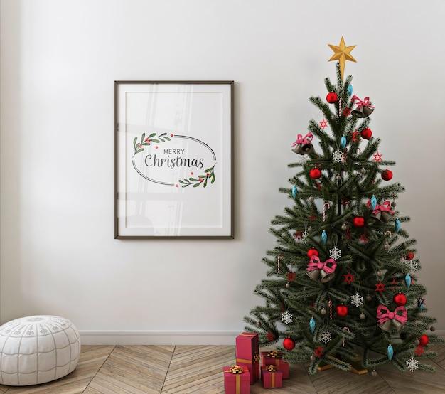 Kerst interieur met mockup posterframe