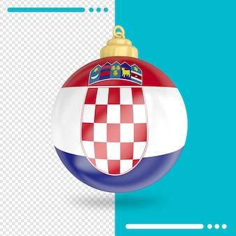 Kerst kroatië vlag 3d-rendering geïsoleerd