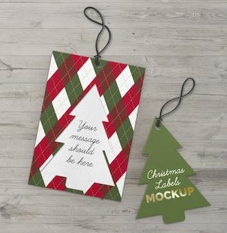 Kerst labels uitgesneden boom