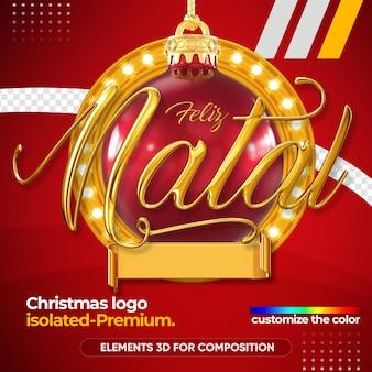 Kerst logo in 3d-rendering mockup