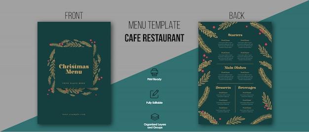 Kerst menu restaurant sjabloon