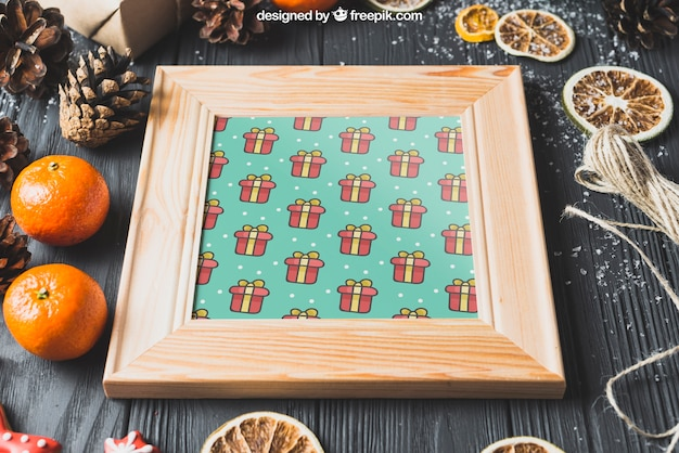 Kerst mockup met frame