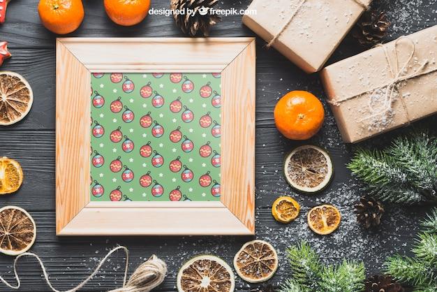 Kerst mockup met houten frame