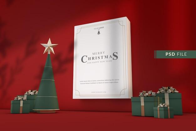 Kerst mockup posterframe met kerstversiering op rode achtergrond