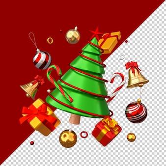 Kerst ornamenten geïsoleerd 3d render
