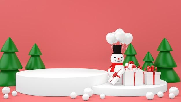 Kerst pastel mockup podiumvertoning van geschenkdoos sneeuwpop