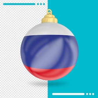 Kerst rusland vlag 3d-rendering geïsoleerd